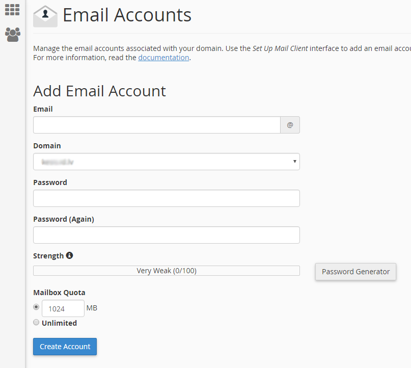 Izveidot jaunu e-pastu cPanel hostings 2